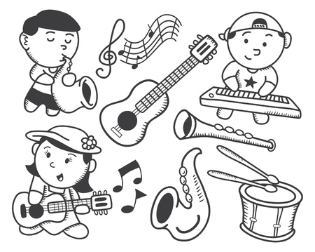 children playing music doodle