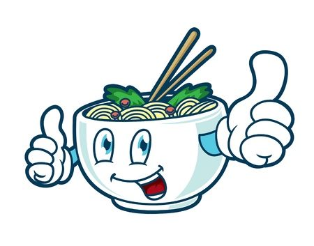 cartoon noodle with happy face