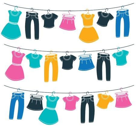 Ilustración de Clothes on washing line - Imagen libre de derechos