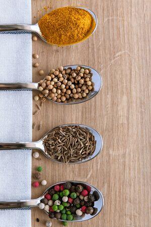 Foto für Spice Mix in Spoon for Cooking. Background. Copy Space - Lizenzfreies Bild