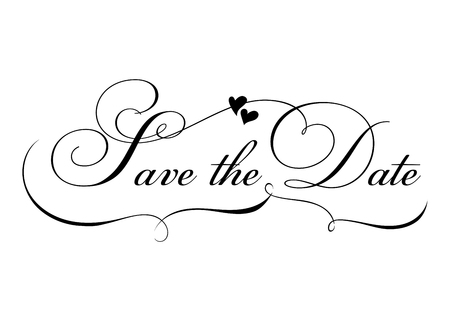 Illustration pour Save the Date. Vector Handmade Calligraphy with Twirl and Two Hearts. Elegant Hand Drawn Lettering for Title, Heading, Photo Overlay, Wedding Invitation. Black Text Isolated on White. - image libre de droit