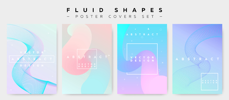 Ilustración de Poster Covers Set with Fluid Shapes. Modern Hipster Memphis Pattern. Minimalistic Vector Illustration for Placard, Flyer, Banner, Report, Presentation. Abstract Futuristic Design with Colorful Waves. - Imagen libre de derechos