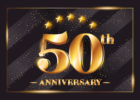 Illustration pour 50 Years Anniversary Celebration Vector Logotype. 50th Anniversary Gold Badge with Glitter. Luxury Shiny Design for Greeting Card, Invitation, Congratulation Card. Isolated on Black Background.  - image libre de droit