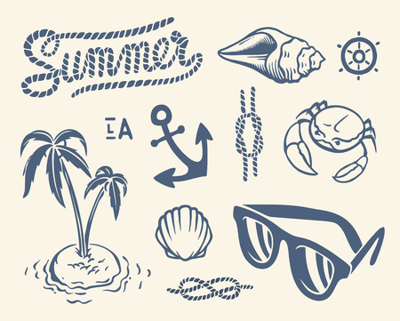 Vintage summer collection of nautical icons, symbols and illustrations