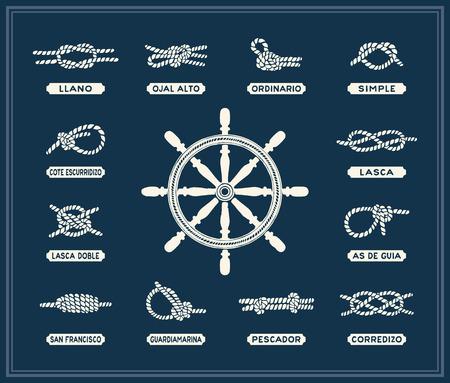 Nautical rope knots set