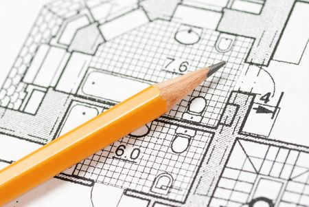 Photo for Pencil over house plan blueprints - Royalty Free Image