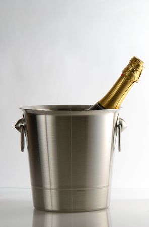 Champagne cooler over grey background