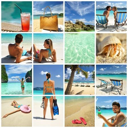 Photo pour Collage made with beautiful tropical resort shots - image libre de droit