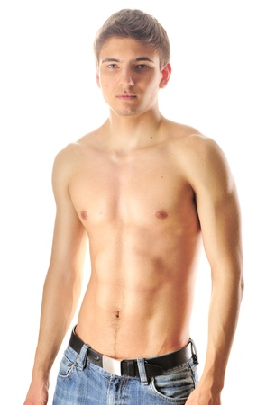 Man with muscular torso over white