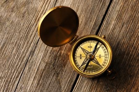Antique brass compass over wooden background