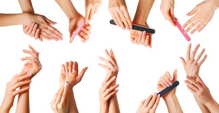 Photo pour Beautiful female hands with french manicure set - image libre de droit