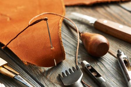 Photo pour Leather crafting DIY tools still life - image libre de droit