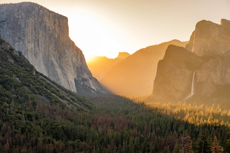 Yosemite National Park Valley at sunrise landscape from Tunnel View. California, USA.