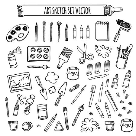 Illustration pour Art tools sketch hand drawn set vector white and black desing. Art background. - image libre de droit