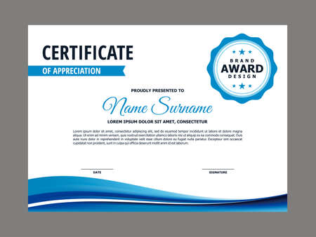 Illustration pour Abstract Smooth Certificate with Blue Wavy Element Design, Professional, Modern, Elegant Certificate with Fresh Flowing Mesh Gradient Background Template Vector - image libre de droit