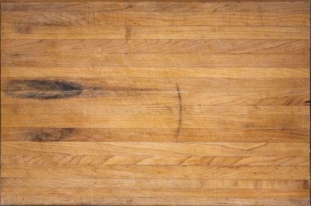 An aged butcher block cutting board suitable for backgrounds