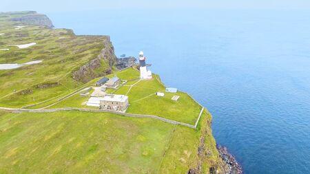 Photo pour East Lighthouse Rathlin Island Aerial photo Atlantic Ocean Co. Antrim Northern Ireland - image libre de droit