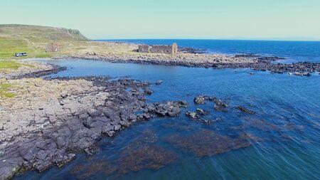 Photo pour Rue point Rathlin Island Aerial photo Atlantic Ocean Co. Antrim Northern Ireland - image libre de droit