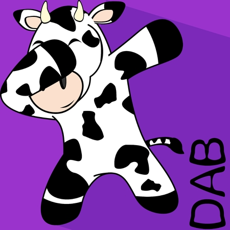 Dab dabbing pose cow kid cartoon in vector format.