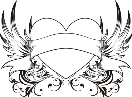 heart shape with design elements, individual objects very easy to edit