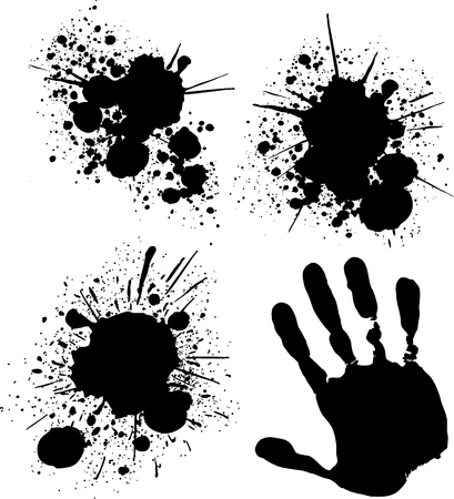 isolated grungy ink splats, vector format very easy to edit