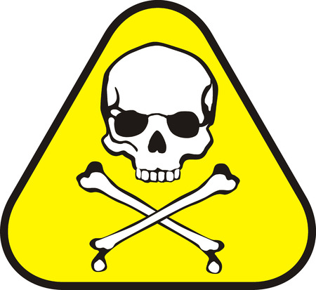 isolated triangle sticker of poison symbol