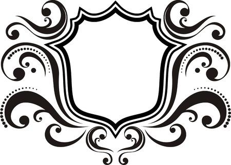 blank emblem with vintage style design elements, use for logo, frame