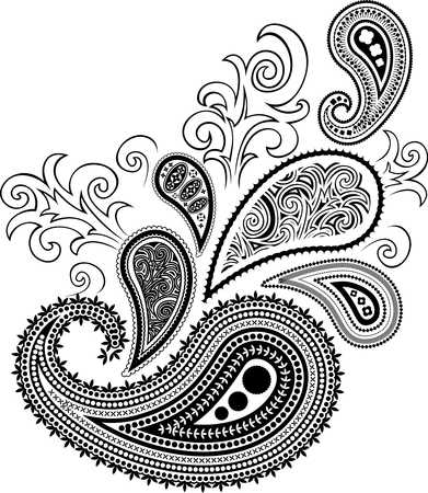 paisley design isolated on white background in vector format very easy to edit, individual objects