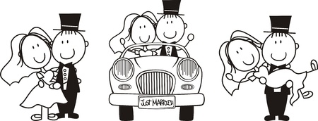 Foto für set of isolated cartoon couple scenes, ideal for funny wedding invitation - Lizenzfreies Bild