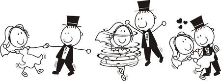 Foto de set of isolated cartoon bride and groom first dance wedding, ideal for funny invitation - Imagen libre de derechos