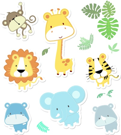 vector cartoon illustration of seven baby animals and jungle leaves, individual objects very easy to edit, ideal for childs decorationのイラスト素材