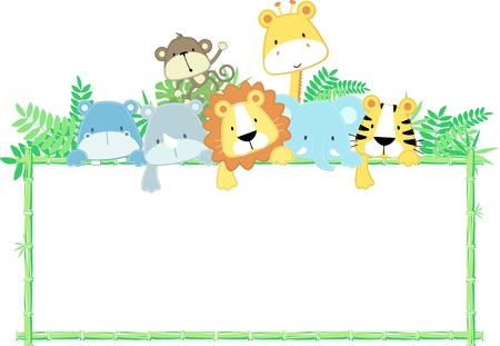 vector illustration of cute jungle baby animals with blank signのイラスト素材