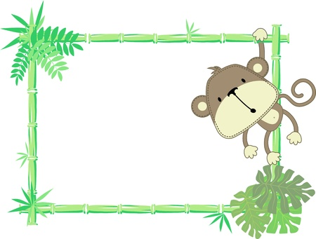 Illustration for vector illustration of baby monkey with blank sign - Royalty Free Image