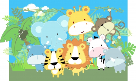 Photo for vector illustration of cute jungle baby animals and jungle plants - Royalty Free Image