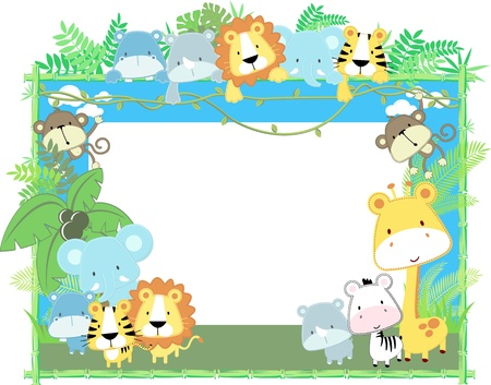 cute jungle baby animals jungle plants and bamboo frame, vector format very easy to edit, individual objectsのイラスト素材