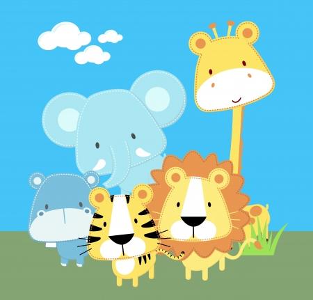 Ilustración de vector illustration of cute safari baby animals - Imagen libre de derechos