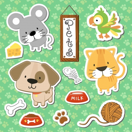 set of cute baby animals stickers on seamless pattern background, in format very easy to edit, individual objects