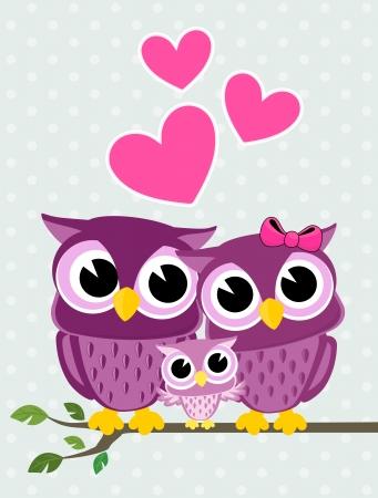 Ilustración de cute owls couple with baby owl sitting on a branch - Imagen libre de derechos