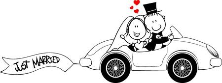 Foto de bride and groom on car isolated on white background - Imagen libre de derechos
