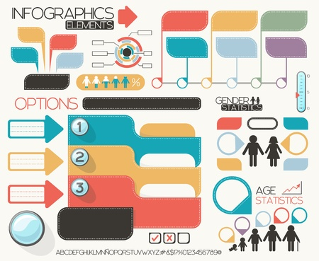 Illustration pour infographic elements set, vector format very easy to edit, individual objects, no gradients, only solid colors, custom typography created by my - image libre de droit