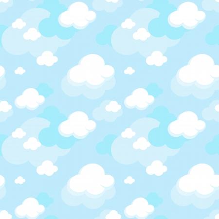 Illustration pour cute seamless pattern of clouds on blue sky backgroud - image libre de droit