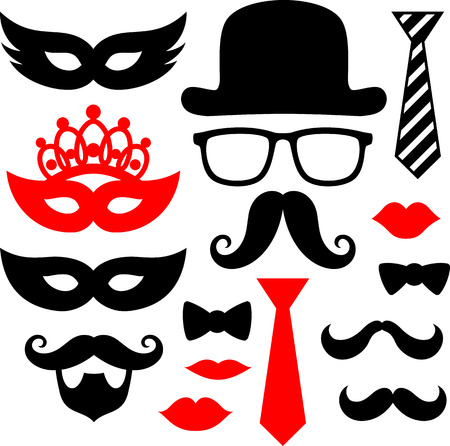 set of black mustaches,lips and silhouettes design elements for party props isolated on white background
