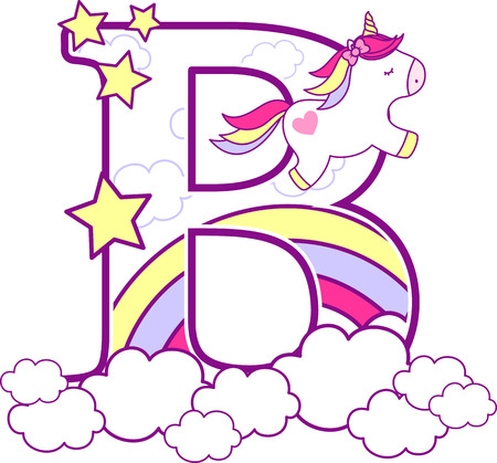Illustration pour Initial b with cute unicorn and rainbow. can be used for baby birth announcements, nursery decoration, party theme or birthday invitation. Design for baby and children - image libre de droit