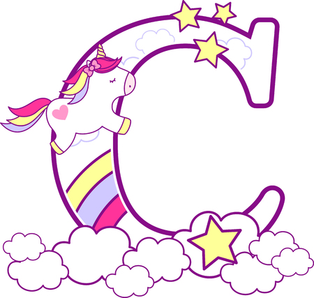 Illustration pour Initial c with cute unicorn and rainbow. can be used for baby birth announcements, nursery decoration, party theme or birthday invitation. Design for baby and children - image libre de droit