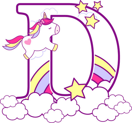 Illustration pour Initial d with cute unicorn and rainbow. can be used for baby birth announcements, nursery decoration, party theme or birthday invitation. Design for baby and children - image libre de droit