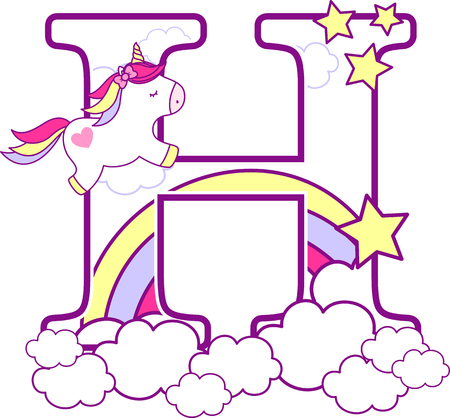 Illustration pour Initial h with cute unicorn and rainbow. can be used for baby birth announcements, nursery decoration, party theme or birthday invitation. Design for baby and children - image libre de droit
