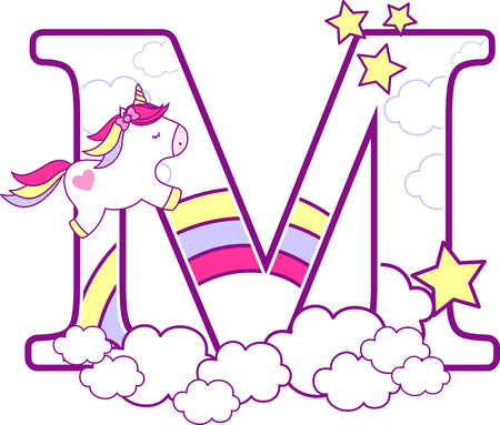 Ilustración de Initial m with cute unicorn and rainbow. can be used for baby birth announcements, nursery decoration, party theme or birthday invitation. Design for baby and children - Imagen libre de derechos