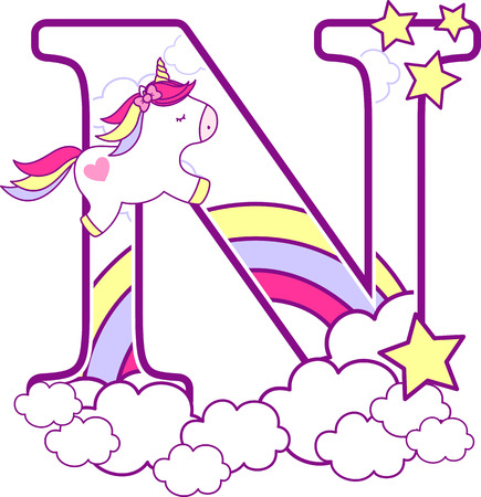 Illustration pour Initial n with cute unicorn and rainbow. can be used for baby birth announcements, nursery decoration, party theme or birthday invitation. Design for baby and children - image libre de droit