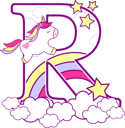 Illustration pour Initial r with cute unicorn and rainbow. can be used for baby birth announcements, nursery decoration, party theme or birthday invitation. Design for baby and children - image libre de droit