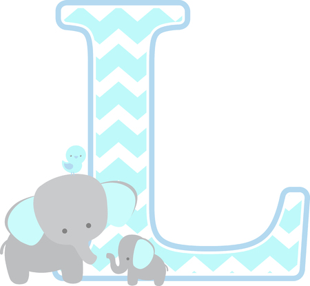Ilustración de initial l with cute elephant and little baby elephant isolated on white background. can be used for father's day card, baby boy birth announcements, nursery decoration, party theme or birthday invitation - Imagen libre de derechos